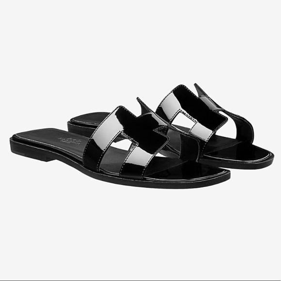 a6dd9c27046c Hermes Shoes - 💯Auth Hermes Oran Patent Leather Sandals